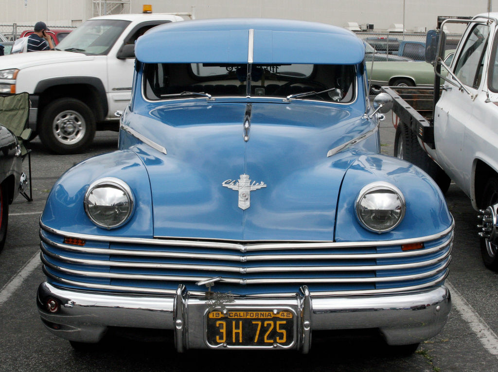A blue Chrysler is on display at Long Beach's, California, antique automobile market 08 April, 2007.