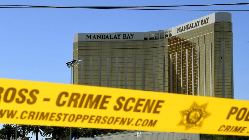 Crime scene tape surrounds the Mandalay Bay Resort and Casino in Las Vegas on Oct. 2, 2017.