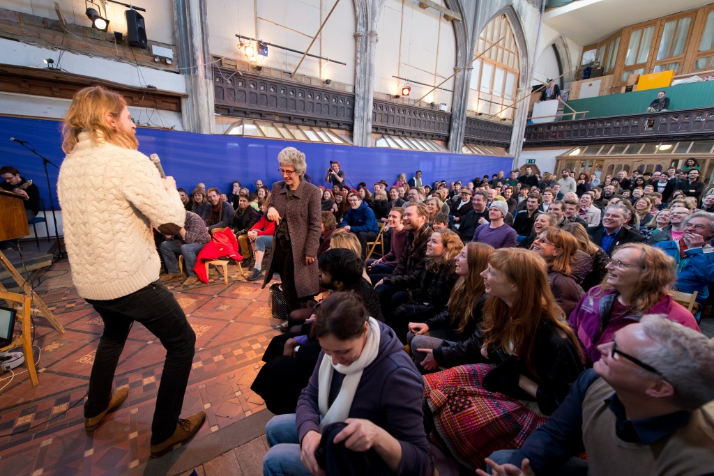 British comedian Sanderson Jones, a co-founder of The Sunday Assembly, an atheist service held at a converted church, leads a service in north London, on March 3, 2013.
