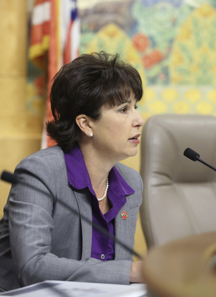 In this April 22, 2015 file photo, Sen. Connie Leyva, D-Chino, works at the Capitol in Sacramento, Calif. California lawmakers will grapple for the first time as a group with a growing sexual misconduct scandal when they return to Sacramento.