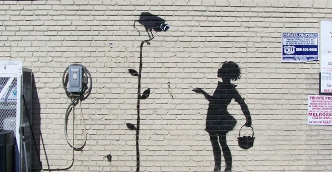 banksy flower girl 2008 mural street art