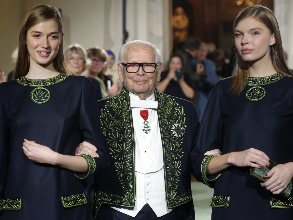 French designer Pierre Cardin has died at age 98. Here, the member of the Academie des Beaux-Arts is seen in 2016, at the end of a fashion show marking 70 years of his creations at the Institut de France in Paris.