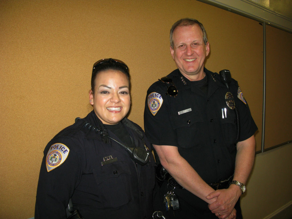 Stockton Unified School District Police Officer Myra Franco and School Police Chief Jim West patrol 50 schools in California's Central Valley region. One of the campuses was the site of a 1989 shooting massacre.