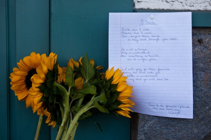 A memorial to the victims of Wednesday's shooting spree was set up outside Salon Meritage.