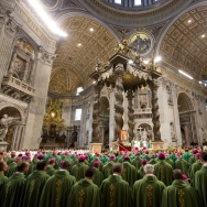 Bishops and cardinals pray as Pope Francis celebrates the opening Mass of the Synod of Bishops, in St. Peter's Basilica at the Vatican on Sunday.