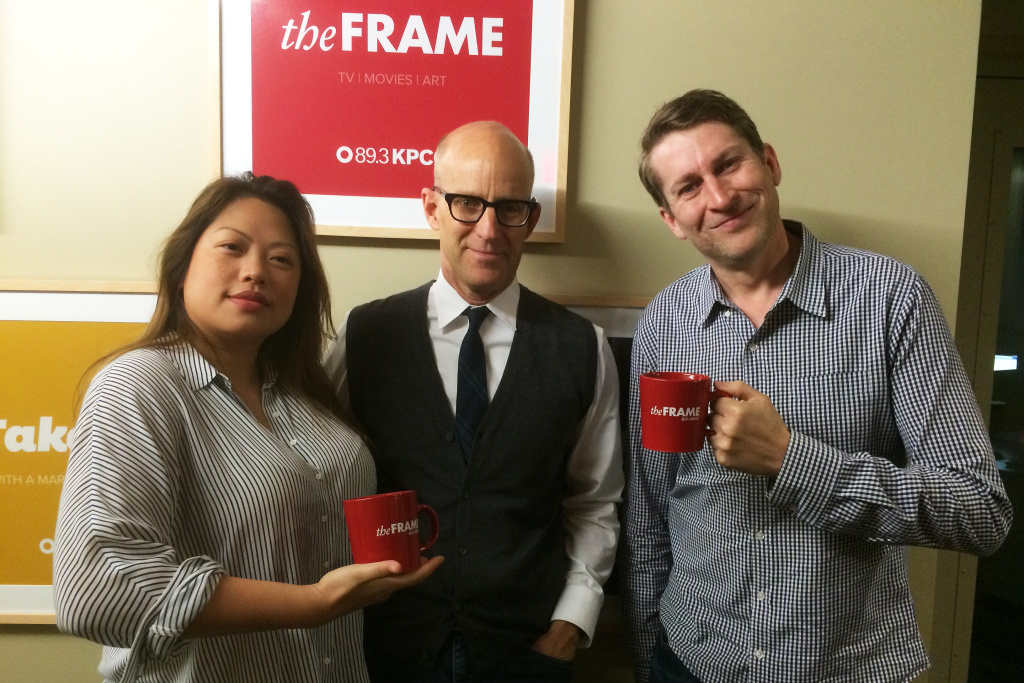 Kulap Vilaysack and Scott Aukerman (right) after their interview with John Horn on The Frame.