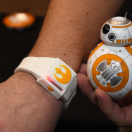 "LAS VEGAS, NV - JANUARY 04:  Sphero's BB-8 technical prototype with Force Band is displayed during a press event for CES 2016 at the Mandalay Bay Convention Center on January 4, 2016 in Las Vegas, Nevada. Sphero partnered with Lucasfilm to build the USD 150, app-enabled toy from the droid character in the film ""Star Wars: The Force Awakens."" It can be controlled using Bluetooth by a smartphone or the Force Band and features gesture-based technology enabling users to control it with Jedi-like movements. CES, the world's largest annual consumer technology trade show, runs from January 6-9 and is expected to feature 3,600 exhibitors showing off their latest products and services to more than 150,000 attendees."