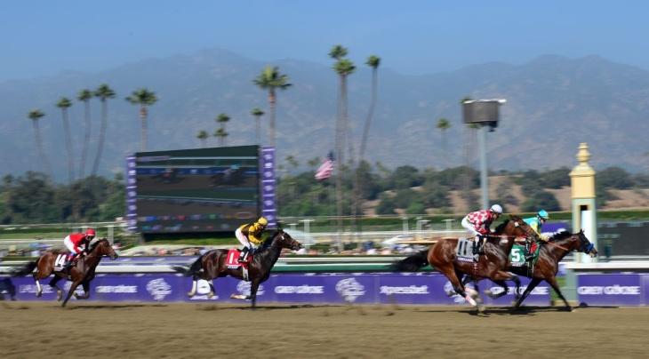 Jaycito, ridden by Joseph Talamo (R#5) takes the early lead ahead of Martin Guiterrez riding Commander (2/R#11) in the Breeder's Cup Marathon race at Santa Anita racetrack in Arcadia, California.