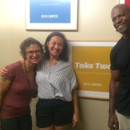 Take Two host Alex Cohen (left) with #MakeAmericaSmartAgain co-founder Amanda Fairey (center) and actor Terry Crews (right).