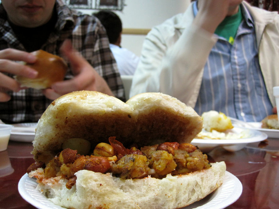 Mumbai Ki Galliyon Se's famous Dabeli--sort of the restaurant's take on a veggie slider.