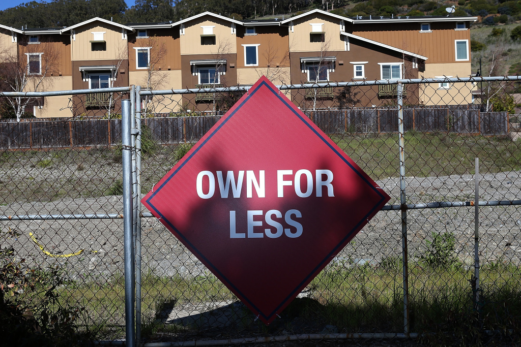 A sign is posted outside of the Candlestick Cove housing development on February 26, 2013 in San Francisco, California.  The Commerce Department reported today that sales of new homes in the U.S. surged nearly 16 percent in January from the previous month to the highest level since July 2008.