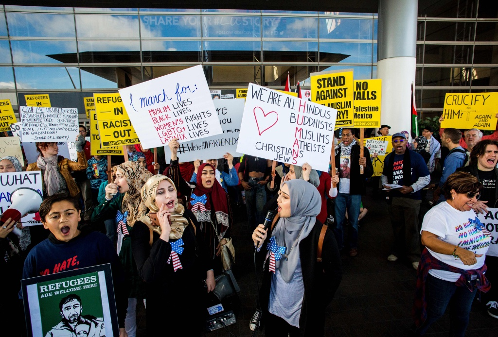 People protest the executive order by by US President Donald Trump, banning immigrants from seven majority-Muslim countries at Los Angeles International Airport, California on February 4, 2017.
