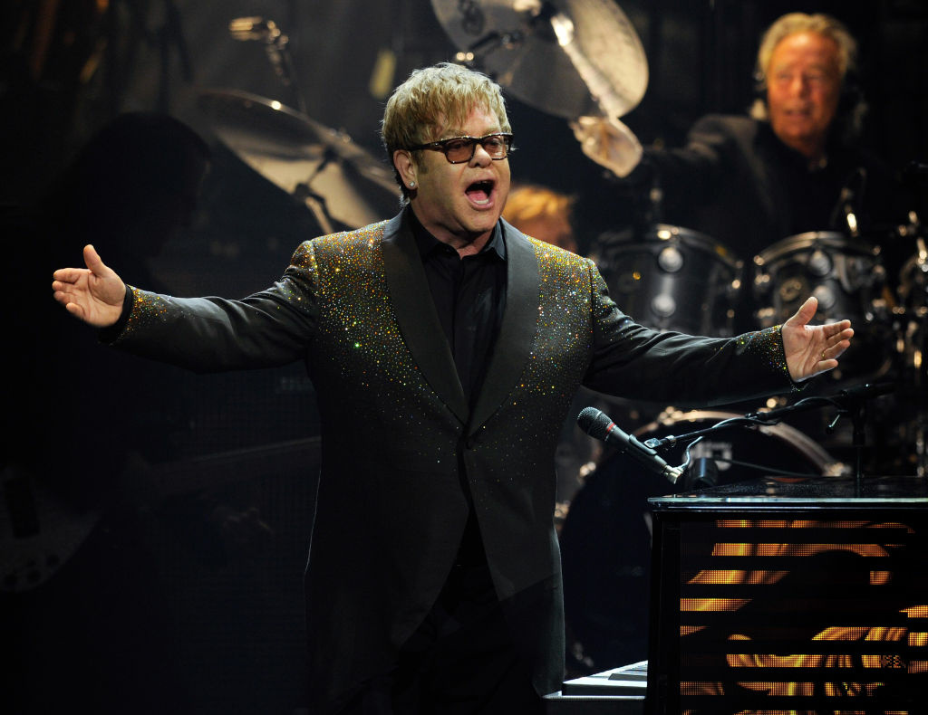 "Recording artist Sir Elton John performs during the first night of his new show, ""The Million Dollar Piano"" as John begins a three-year residency at The Colosseum at Caesars Palace September 28, 2011 in Las Vegas, Nevada."