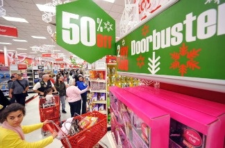 Early morning shoppers look for Black Friday bargains at Target store in Burbank, California on November 27, 2009.