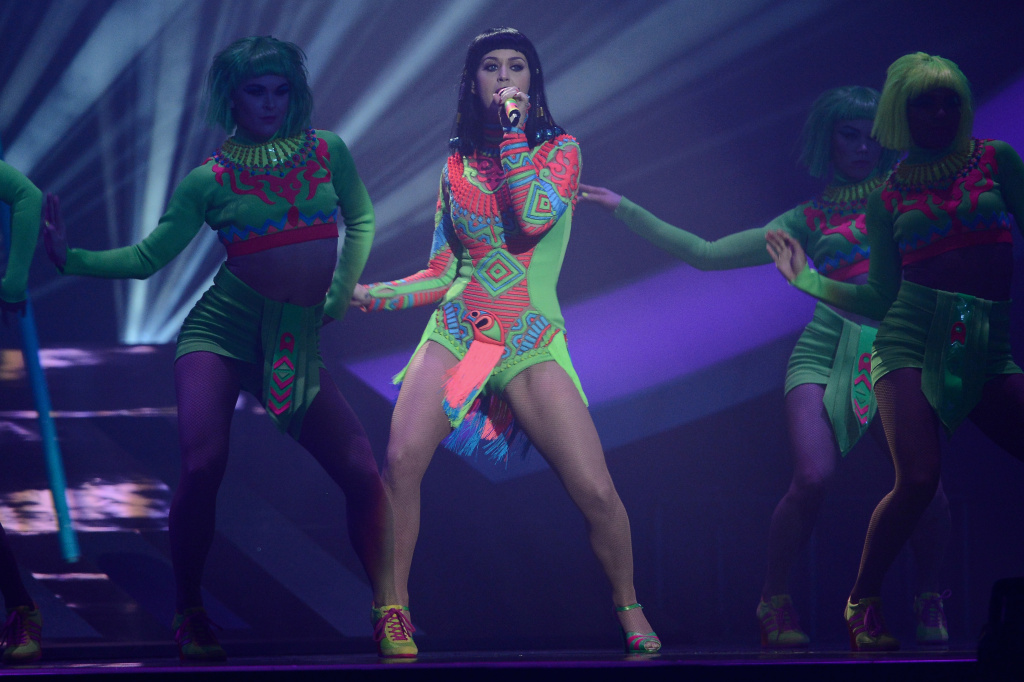 Singer Katy Perry performs at The BRIT Awards 2014 at 02 Arena on February 19, 2014 in London, England.