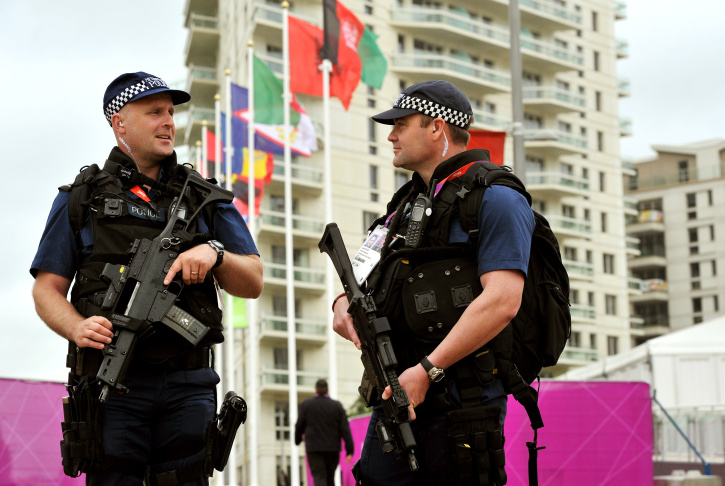 Armed Police On Patrol In Olympic Park