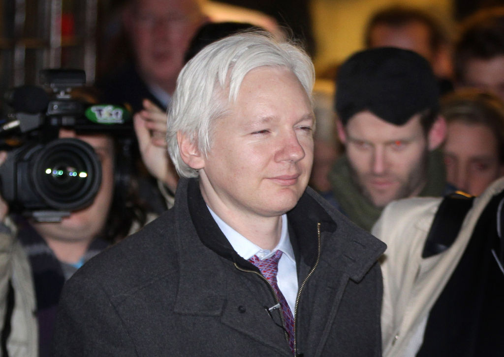 Wikileaks website founder Julian Assange leaves The Supreme Court on February 2, 2012 in London, England.
