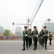 Chinese paramilitary guards march from t