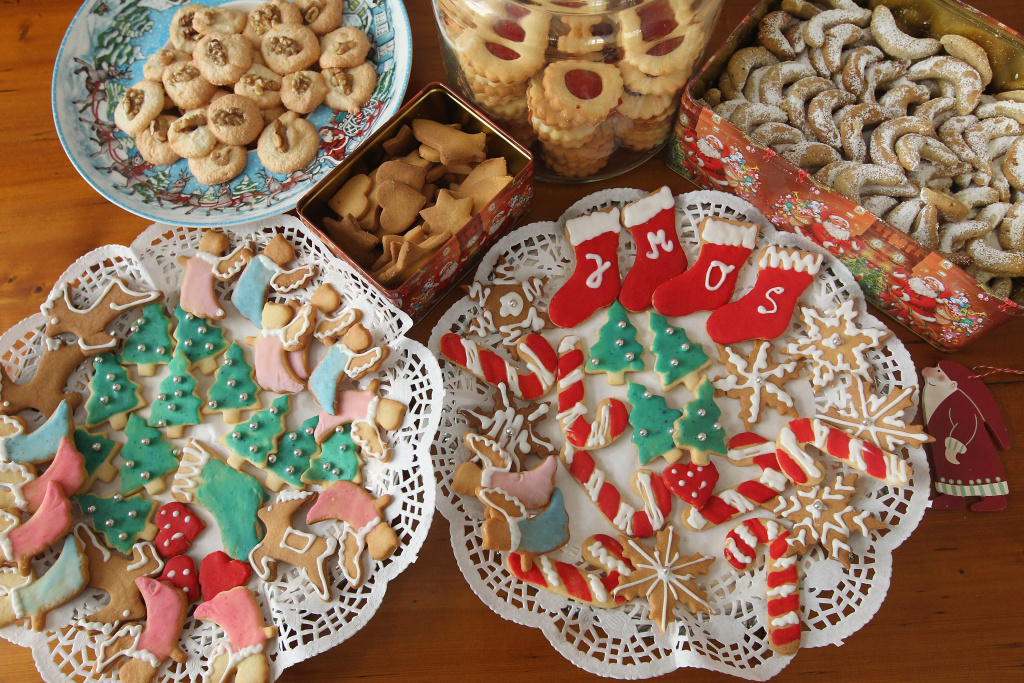 Traditional, home-made Christmas cookies lie on plates in a household on December 21, 2010 in Berlin, Germany.
