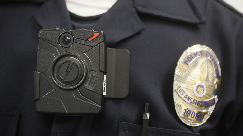 A Los Angeles police officer wears a body camera.