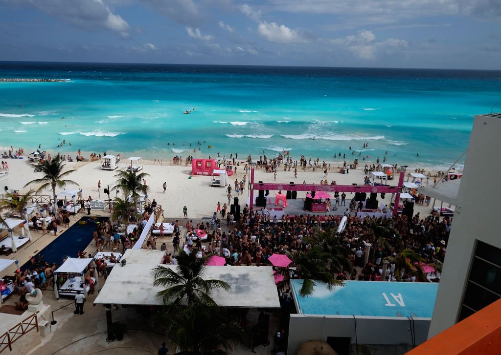 File: A general view during Victoria's Secret PINK Nation Spring Break Beach Party in Cancun, Mexico on March 15, 2016.