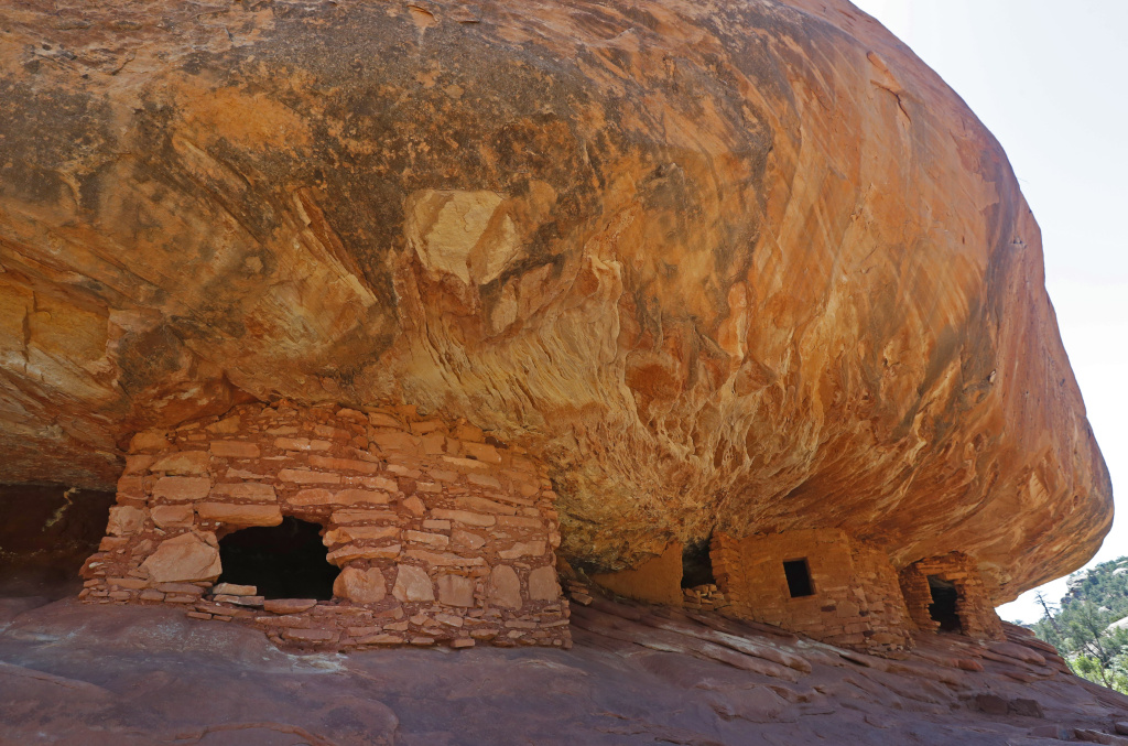 Ancient granaries, part of the House on Fire ruins are shown here in the South Fork of Mule Canyon in the Bears Ears National Monument outside Blanding, Utah.
