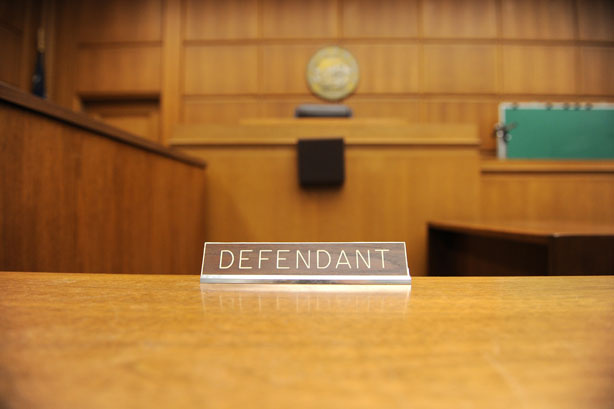 A view of the defendant's table in a courtroom at the Stanley Mosk Courthouse in downtown Los Angeles.