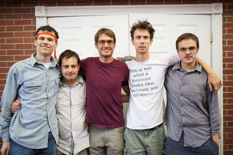 Filmmaker Alex Lehmann, center, with the members of the sketch comedy group