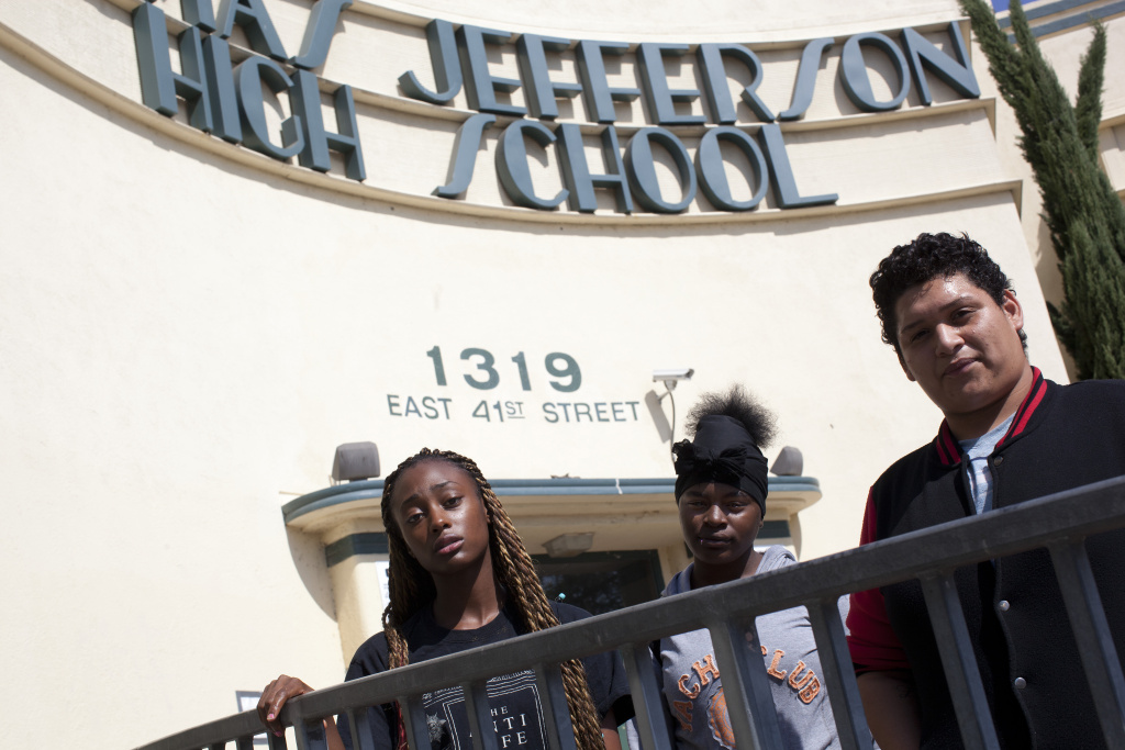 Jefferson High School students Dasianique Weeks, left, Starr Brock, and Oscar Carillo complained in 2014 about their dysfunctional schedules and staffing issues at their school.