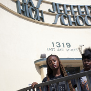 Jefferson High School students Dasianique Weeks, left, Starr Brock, and Oscar Carrillo are upset with the dysfunctional scheduling software and staffing issues at their high school.