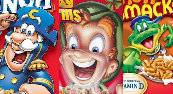 Are you being watched? See if you think these cereal characters are making eye contact if you position yourself lower as if you were a child.