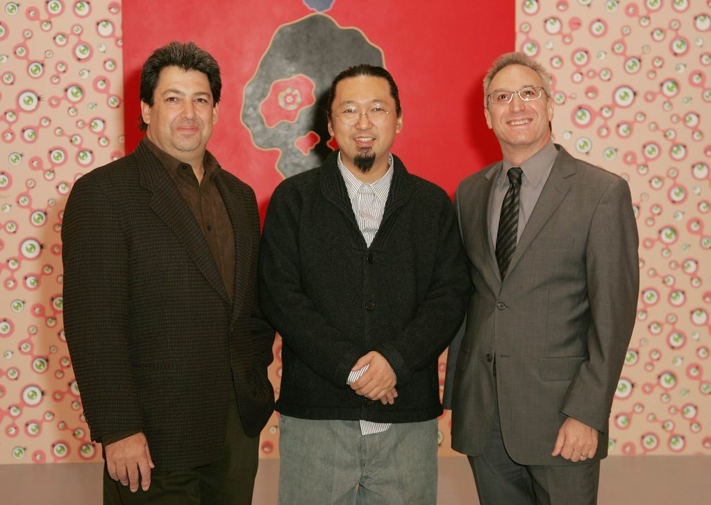 (L-R) Paul Schimmel, Takashi Murakami, and Jeremy Strick pose together at the MOCA Los Angeles media preview of