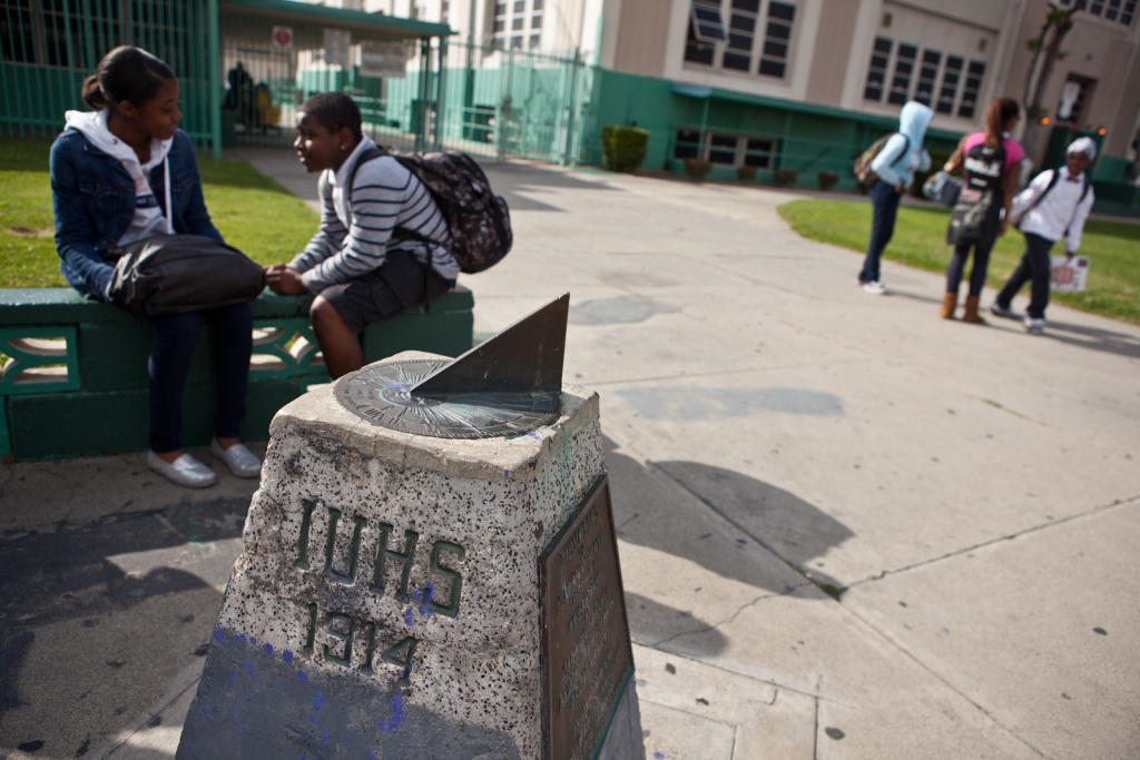 Students wait for school to end outside Inglewood High School.