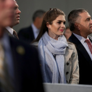 Interim White House communications director Hope Hicks stands with deputy campaign manager David Bossie and campaign manager Kellyanne Conway on Election Day in the Devos Place November 8, 2016 in Grand Rapids, Michigan.