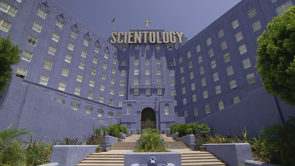 A view from outside the Church of Scientology building in Los Angeles.