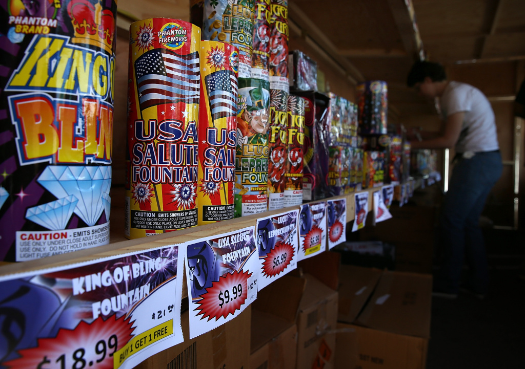 Fireworks are displayed on a shelf inside of the San Bruno Rotary Club fireworks stand on July 3, 2013 in San Bruno, California. Fire departments in the greater San Francisco Bay Area are on heightened alert as vendors in select cities in Santa Clara, San Mateo and Alameda counties began selling fireworks on July 1.