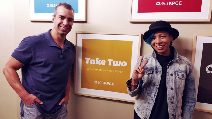 Take Two host A Martinez, left, is seen with The Salo Project's Yana Gilbuena, right.