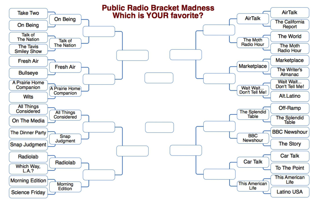 Ready for Round 2 of our Public Radio Bracket Madness? Have at it!