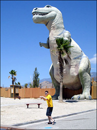 Off-Ramp commentator Rex Girod, at a Coachella Valley landmark.