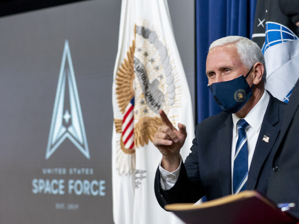 Vice President Mike Pence arrives for a ceremony to commemorate the first birthday of the U.S. Space Force on Friday. Members of the branch will be called