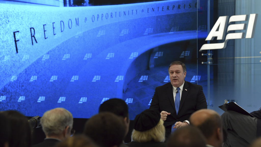 CIA Director Mike Pompeo speaks in Washington in January. The spy agency has become more open and active in recruiting staff, with the aim of greater diversity. Even Pompeo encourages job applications in his public remarks.