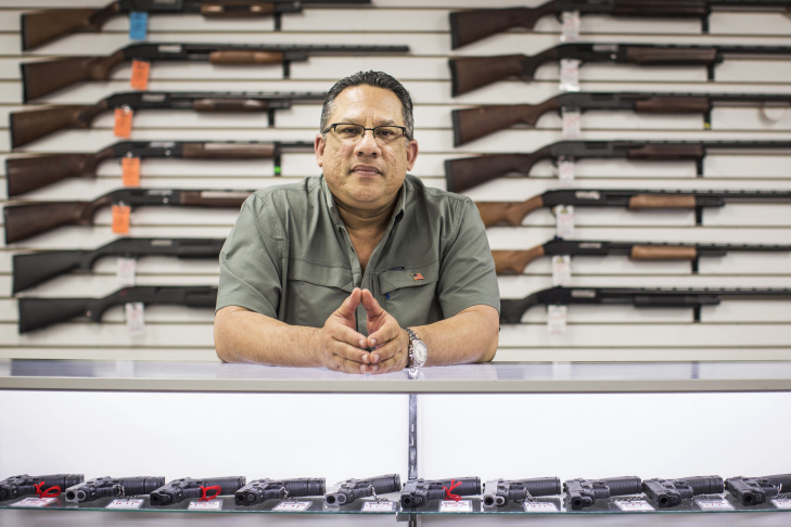 Vincent Torres is the owner of Bullseye Sport in Riverside. Torres came to the United States from Cuba at seven years old. He's been in the firearms industry since 1977.