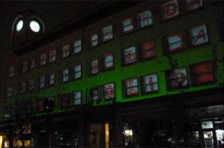 The graphic art group known as Matik turns Santa Ana building into light show