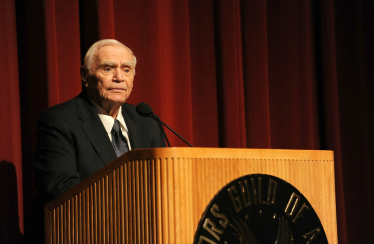 Actor and Humanitarian of the Year award winner, Ernest Borgnine speaks on stage at the