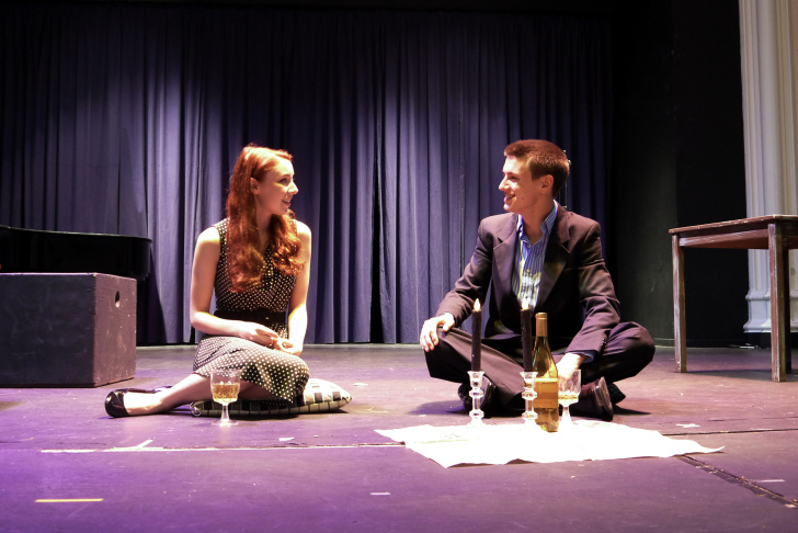 Shannon Viele and Michael Tingley rehearse a scene from