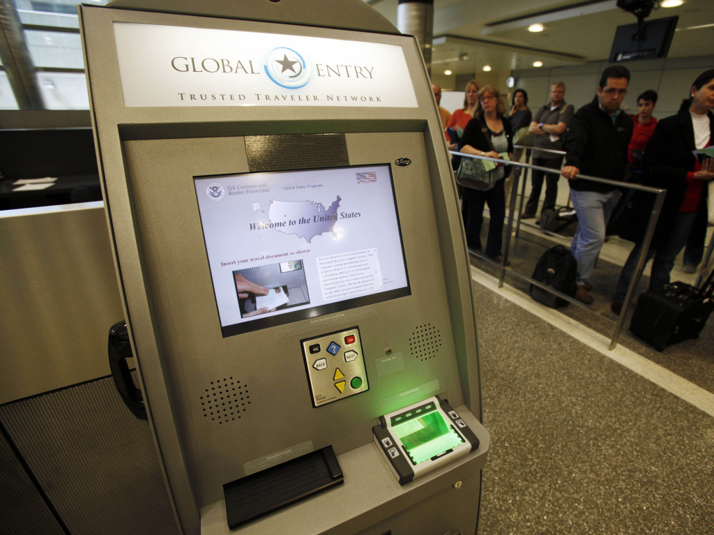 A Global Entry Trusted Traveler Network kiosk awaits arriving international passengers who are registered for the service at the Tom Bradley International Terminal at Los Angeles International Airport, in 2010.