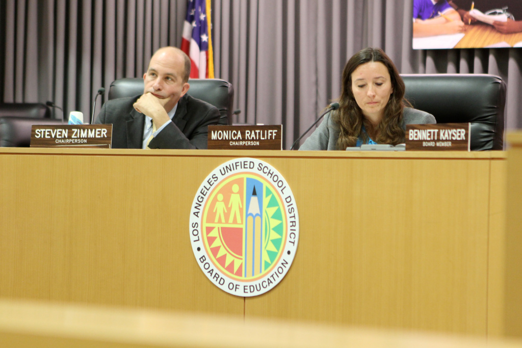 School board members Steve Zimmer and Monica Ratliff during an April 29, 2014 school board committee meeting.