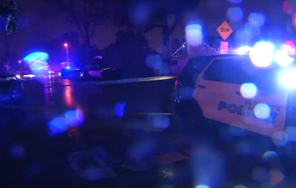 Screen shot from video posted by KPCC media partner NBC4 showing the scene of an officer-involved shooting in, where police fatally shot a DUI suspect who officers said drove his vehicle toward them after a chase on Friday, Dec. 23, 2016.