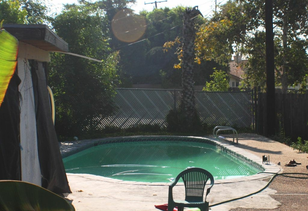 The backyard swimming pool in Rialto where Rodney King was found dead.