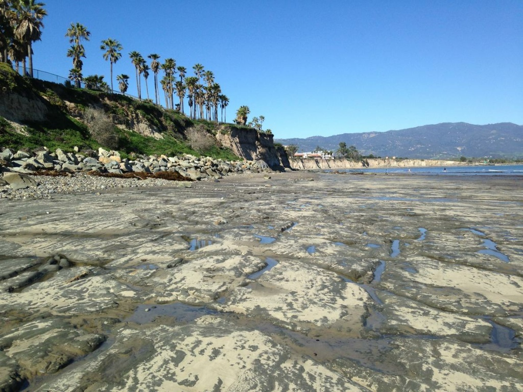 Significant southern california beach erosion on the way study says exposed bedrock on the beach below the university of california santa barbara thecheapjerseys Image collections